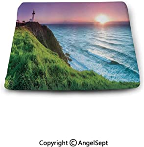 oobon Non-Slip Cushion Square Chair Pad,Lighthouse Decor,Byron Bay Lighthouse During Sunrise Nature Hill Dawn Sunbeams Scenic Seashore, Indoor Outdoor Chair Cushions
