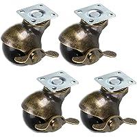 Skelang 4 Stks 50mm Ball Castor Wiel, Plaat Castor met Remmen, Antieke Plaat Swivel Caster voor Meubels, Stoel…