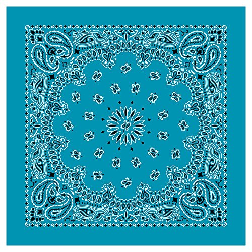"""100% Cotton Western Paisley Bandanas (22"""" x 22"""") Made in USA - Turquoise Single Piece 22x22 - Use For Handkerchief, Headband, Cowboy Party, Wristband, Head Scarf - Double Sided Print (Paisley Turquoise)"""