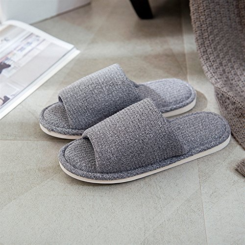 xsby Home Slippers for Men, House Slippers Non-Slip Open Toe Couple Sandals Knitted Cotton Mules Shoes Dark Grey-A 44-45 by xsby (Image #4)