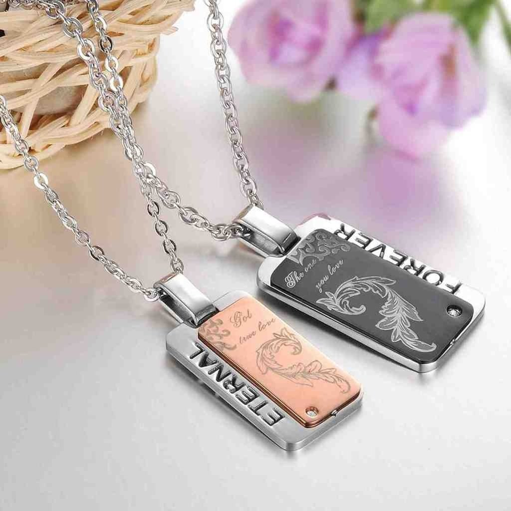 Bishilin Stainless Steel Fashion Women Men Necklace Forest Love Vintage Pendent Chain 50 CM