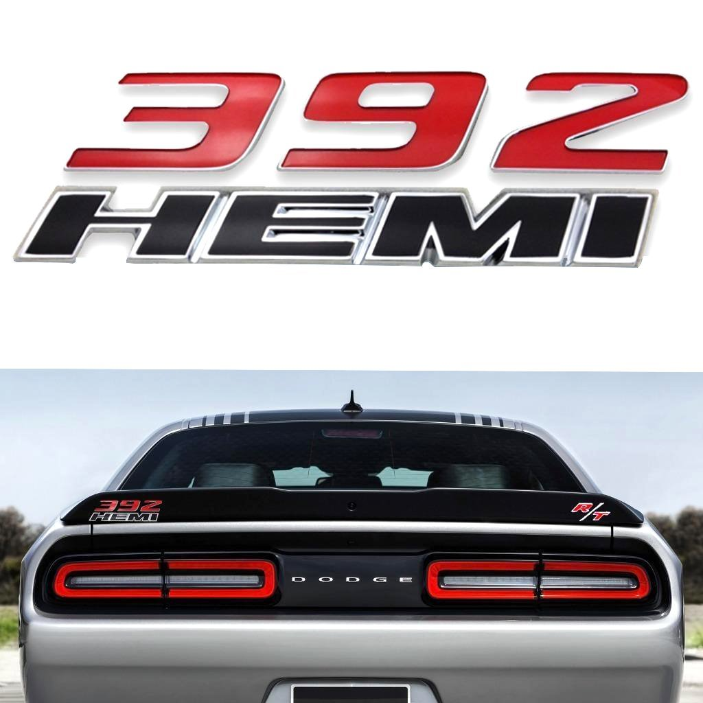 Amazon com 1 x 392 hemi emblem badge plate decal with sticker for dodge challenger srt 6 4l srt8 jeep red black automotive