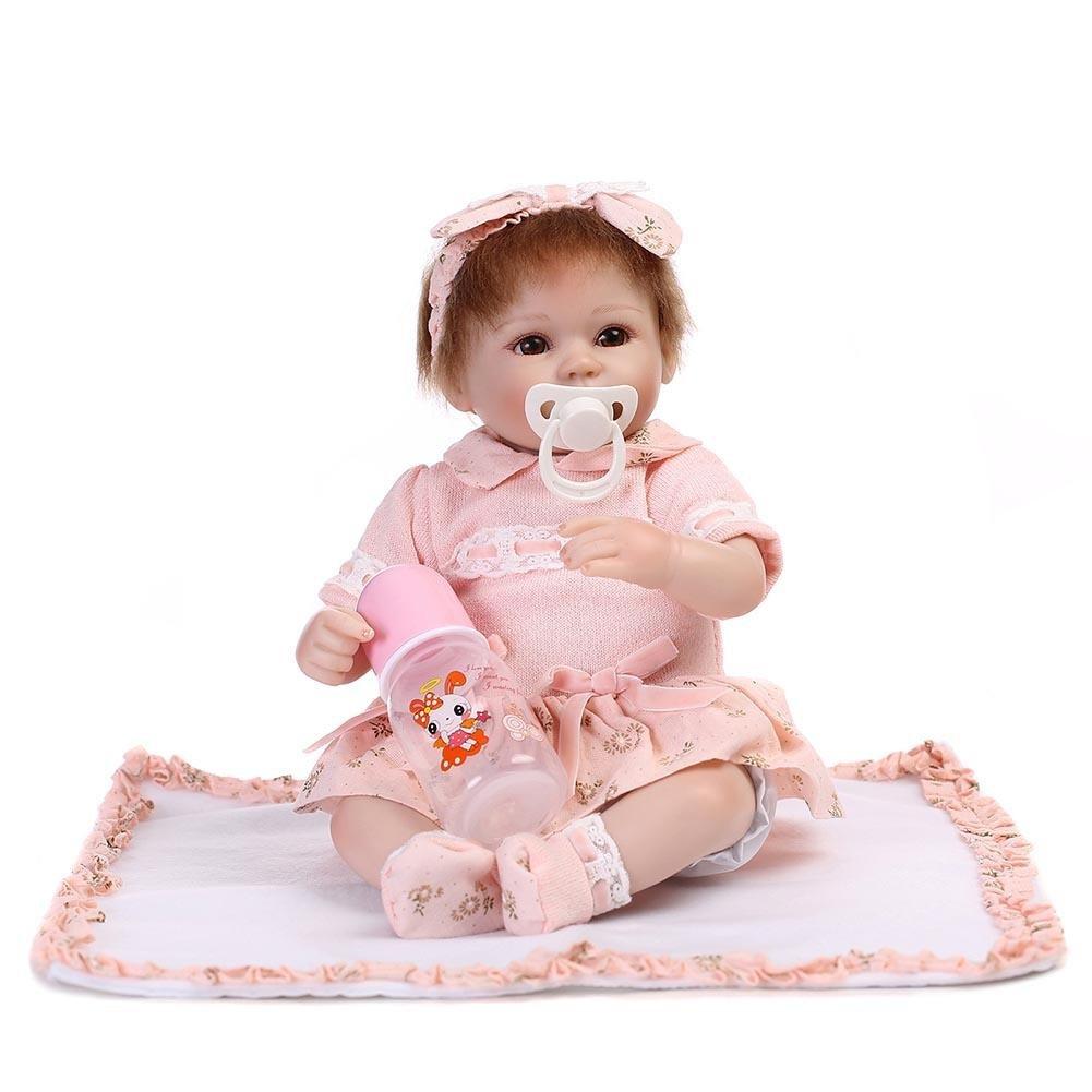 Ecotrumpuk Reborn Baby Puppe Gü nstig Puppe Baby Schnuller Silikon 55cm Mä dchen Spielzeug Wie echt Lebensecht