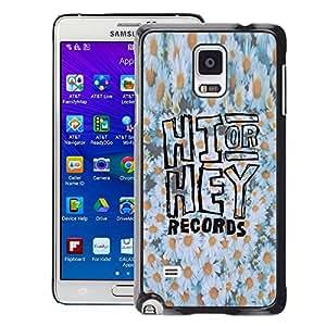 A-type Arte & diseño plástico duro Fundas Cover Cubre Hard Case Cover para Samsung Galaxy Note 4 (Hi Hey Daisy Floral Pattern White Yellow)