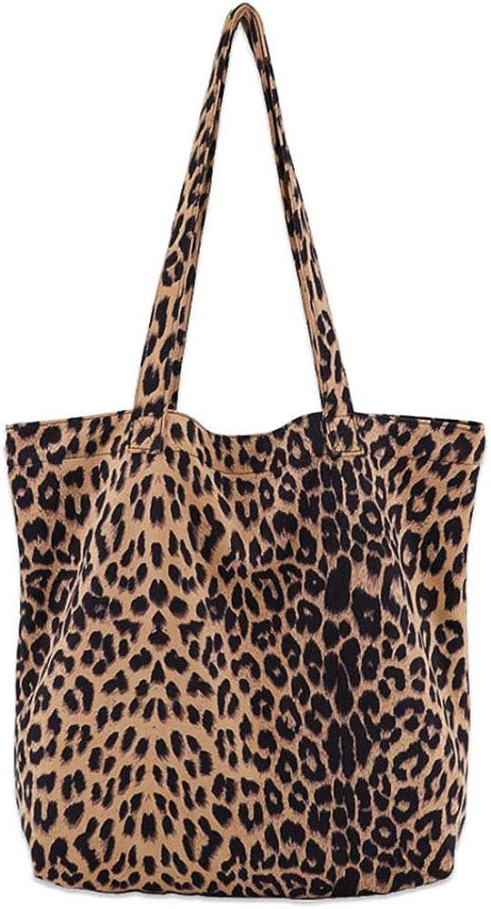 Leopard Shoulder Bag Soft Large Tote Purse Handbag Travel Satchel for Women