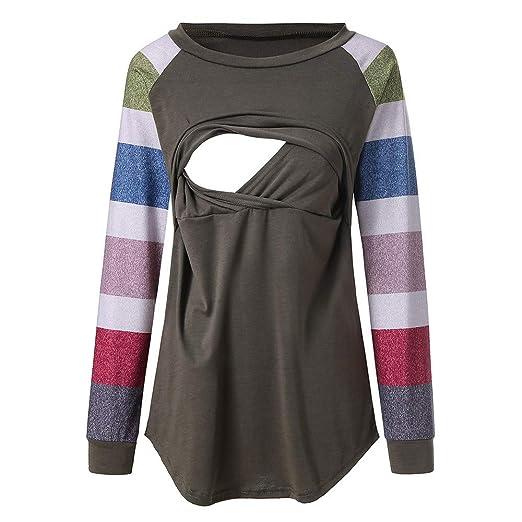 410ef212f58d0 Amazon.com: Clearance Sale ! Pregnant Women's Autumn Winter Maternity Tops  Sweater Nursing Strip Breastfeeding Shirts (Green, XL): Clothing