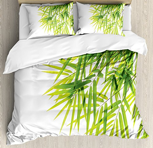 Bamboo House Decor Duvet Cover Set by Ambesonne, Bamboo Leaf Illustration Icon for Wellbeing Health Fresh Purity Tranquil Art Print, 3 Piece Bedding Set with Pillow Shams, King Size, Green White by Ambesonne (Image #2)