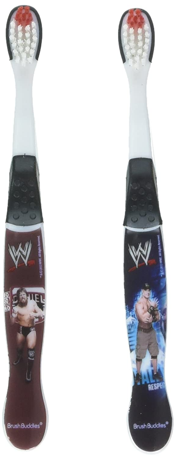 WWE John Cena, CM Punk, and Daniel Bryan Toothbrushes - 2 Pack - Assorted Styles and Colors, Wrestlers May Vary Brush Buddies 00511-24