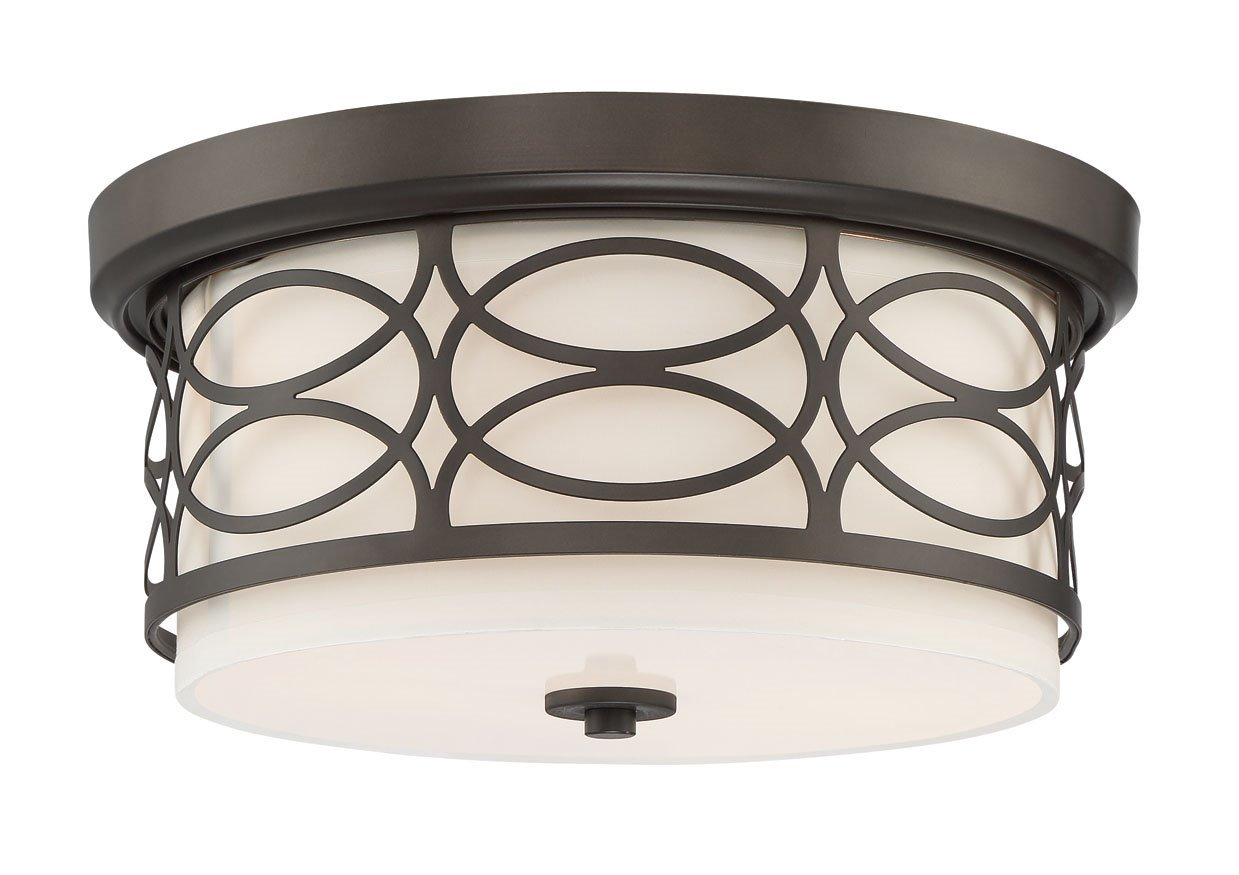 Kira Home Sienna 13'' 2-Light Flush Mount Ceiling Light + Glass Diffuser, Oil-Rubbed Bronze Finish