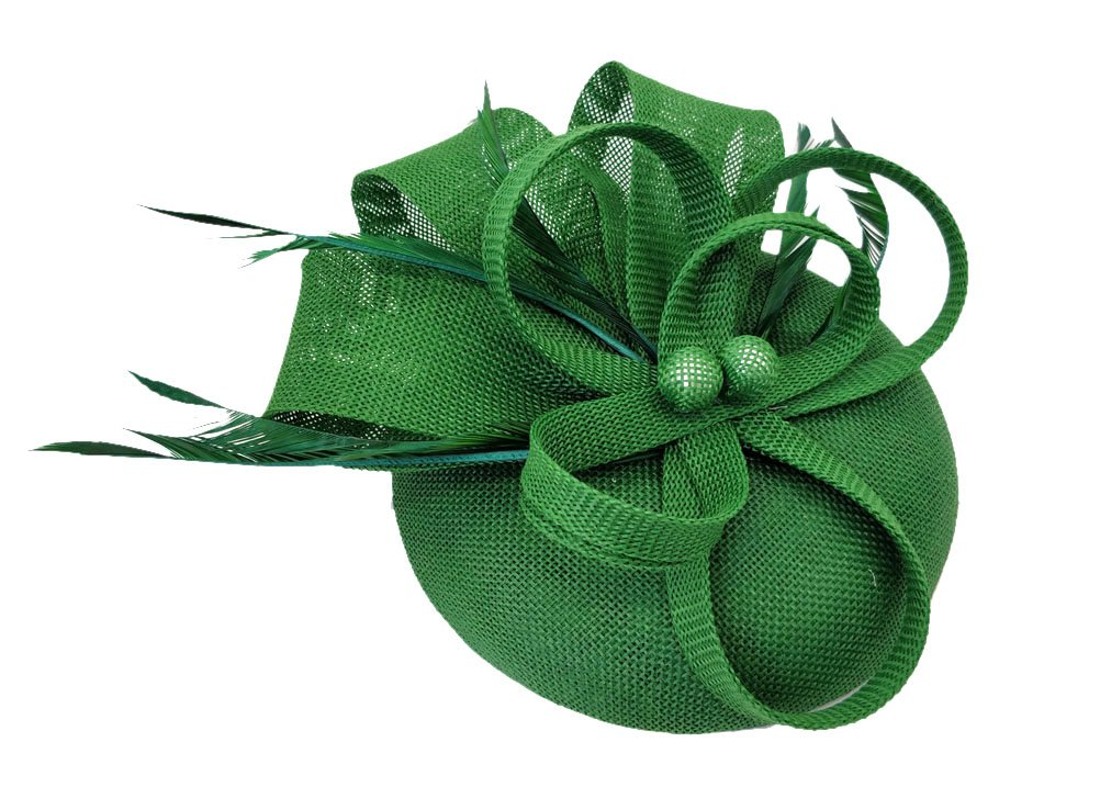 Ahugehome Fascinator Hair Clip Headband Feather Flower Pillbox Hat Wedding Tea Party (K Dark Green)
