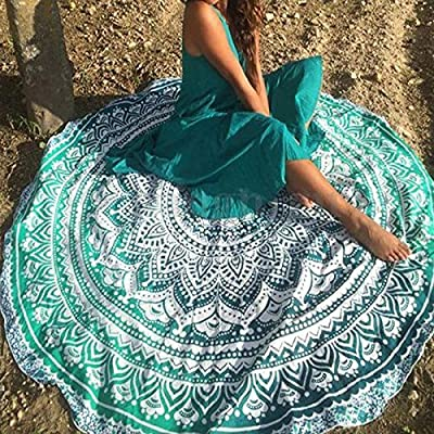 "Popular Handicrafts Round Roundie Yoga Mat Indian Mandala Round Roundie Beach Throw Tapestry Hippy Boho Gypsy Cotton Table Cover Beach Towel , Beach Towel Throw , Round Yoga Mat 60"""