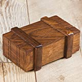 Rusticity Wooden Toy Play Box / Magic Box Puzzle Brain Teaser Box / Magic Wooden Box with Secret Drawer   Handmade   (4x2.5 in)
