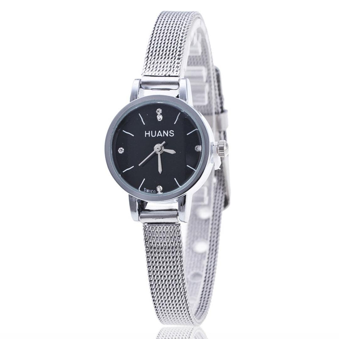 ZLOLIA Women Ladies Silver Stainless Steel Mesh Band Wrist Watch (Black)