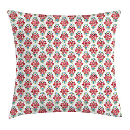 NBTJZT Polish Folk Art Throw Pillow Cushion Cover, Vintage Ethnic European Floral Pattern Print,Pillowcase 18X18 Inch, Pistachio Green Coral Pale Pink Sky - Green Coral Pistachio