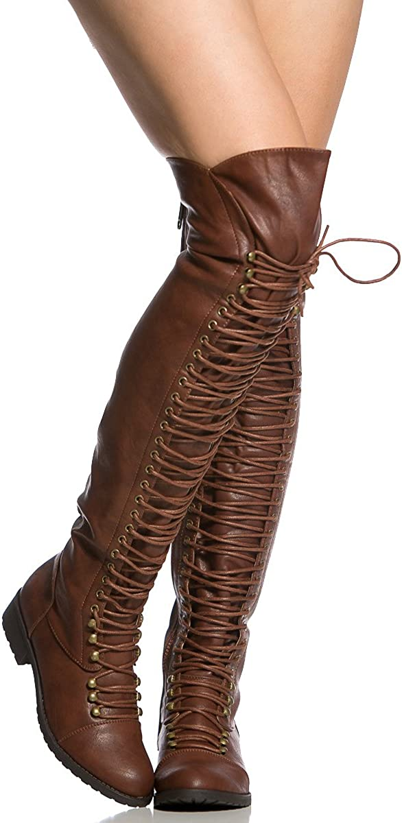 | Brown Faux Leather Thigh High Combat Boots (5.5