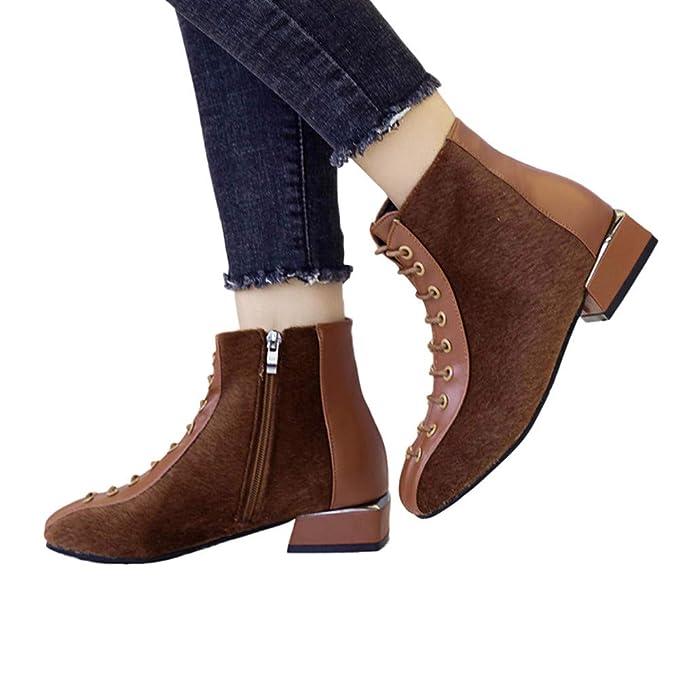 ❤ Botas Cortas de Invierno Moda para Mujer, Botines para Mujer Zapatos de tacón bajo Flock Botas Cortas Botas Gruesas de Cordones Casuales Absolute: ...
