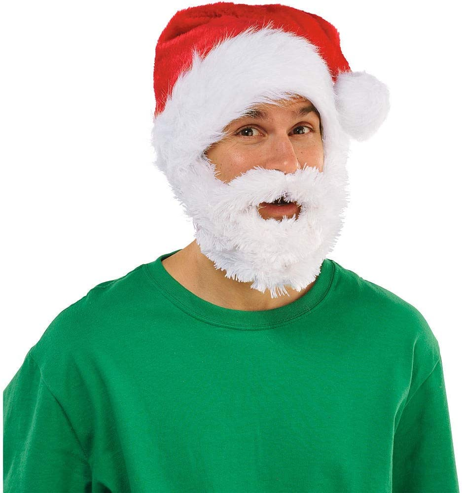 amscan Velour Santa Hat with Plush Beard Christmas Accessory