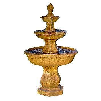Sunnydaze Tropical 3 Tier Garden Water Fountain, 40 Inch Tall