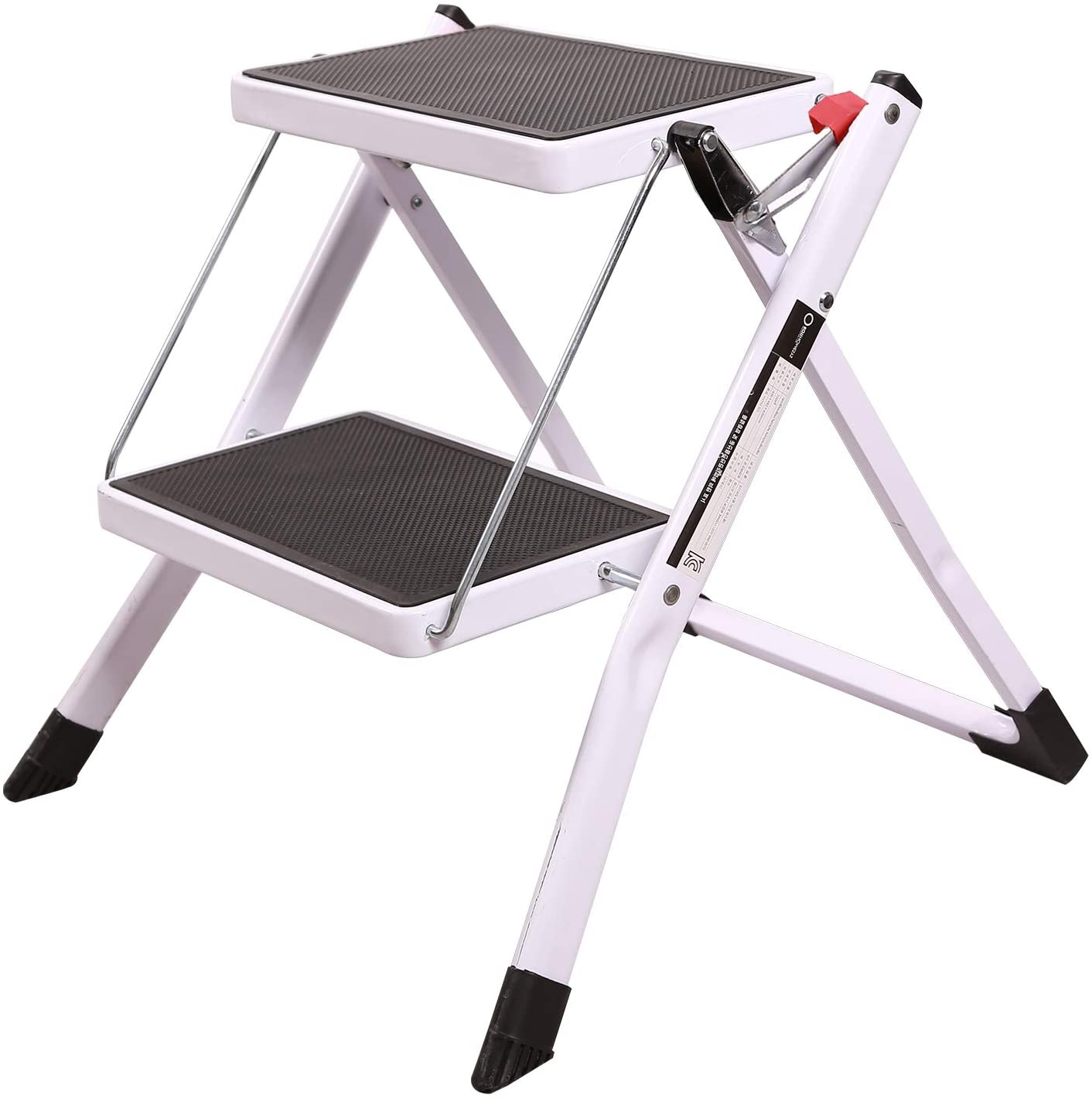 REDCAMP Small Folding Step Ladder 2 Step, Sturdy Heavy Duty Step Ladder 2 Foot Tall, Lightweight Portable White Wide Ladder Step Stool