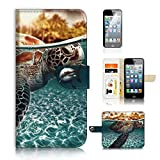 ( For iPhone 5 5S / iPhone SE ) Flip Wallet Case Cover & Screen Protector Bundle! A20301 Turtle Sea