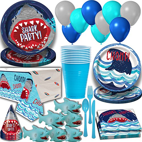 Shark Party Supplies for 16 Guests. Dinner Plates, Cake Plates, Napkins, Cups, Cutlery, Balloons, Tablecloth, Hats, Mini Shark Squirt Favors - Under the Sea Theme Birthday Pack w Decorations + Prizes -