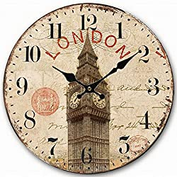 Telisha Wooden Wall Clock UK London Big Ben British Clock Retro Vintage Large Clock Home Decorative Country Non -Ticking Silent Quiet 14 Inch Gift
