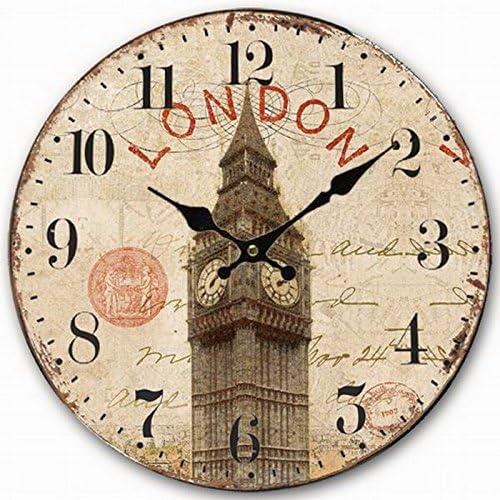 Amazon Com Telisha Wooden Wall Clock Uk London Big Ben British Clock Retro Vintage Large Clock Home Decorative Country Non Ticking Silent Quiet 14 Inch Gift Home Kitchen