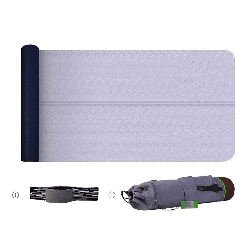 TPE Yogamatte dreiteilig 6MM Anfänger Beidseitige Rutschfeste Textur Ausgeglichene Neutralleitung Fitness-Übungsmatte Reißfestigkeit Strap + Canvas Tasche 183 × 62 cm