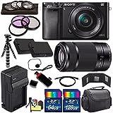 Sony Alpha a6000 Mirrorless Digital Camera with 16-50mm Lens (Black) + Sony E 55-210mm f/4.5-6.3 OSS E-Mount Lens 196GB Bundle 27 - International Version (No Warranty)