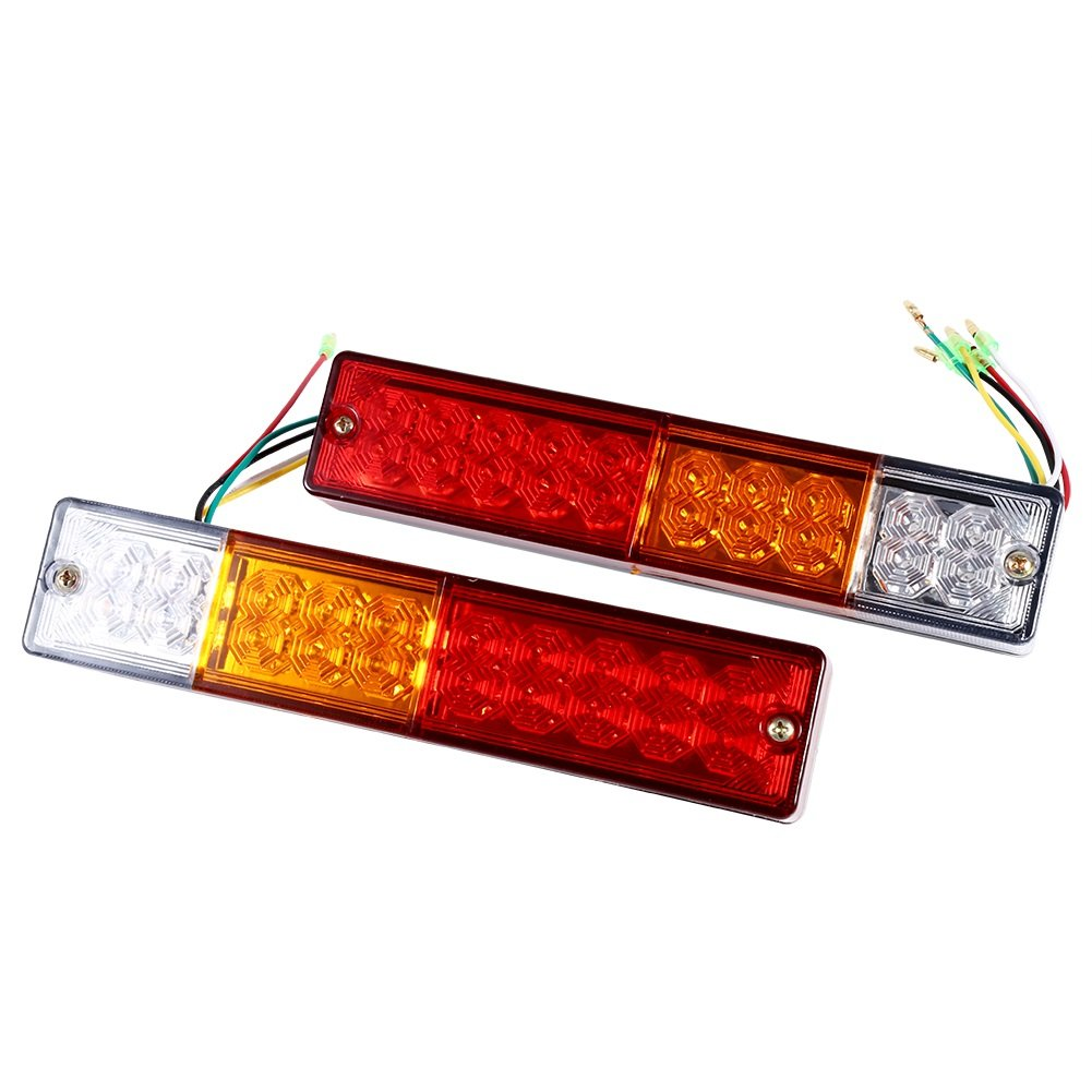 2Pcs LED Rear Tail Lights, Red-White Indicator Light for Truck Trailer Caravan ( Edition : 12V ) VGEBY
