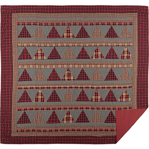 VHC Brands Chili Pepper Rustic & Lodge Seasonal Bedding Andes Quilt, Luxury King, Red ()