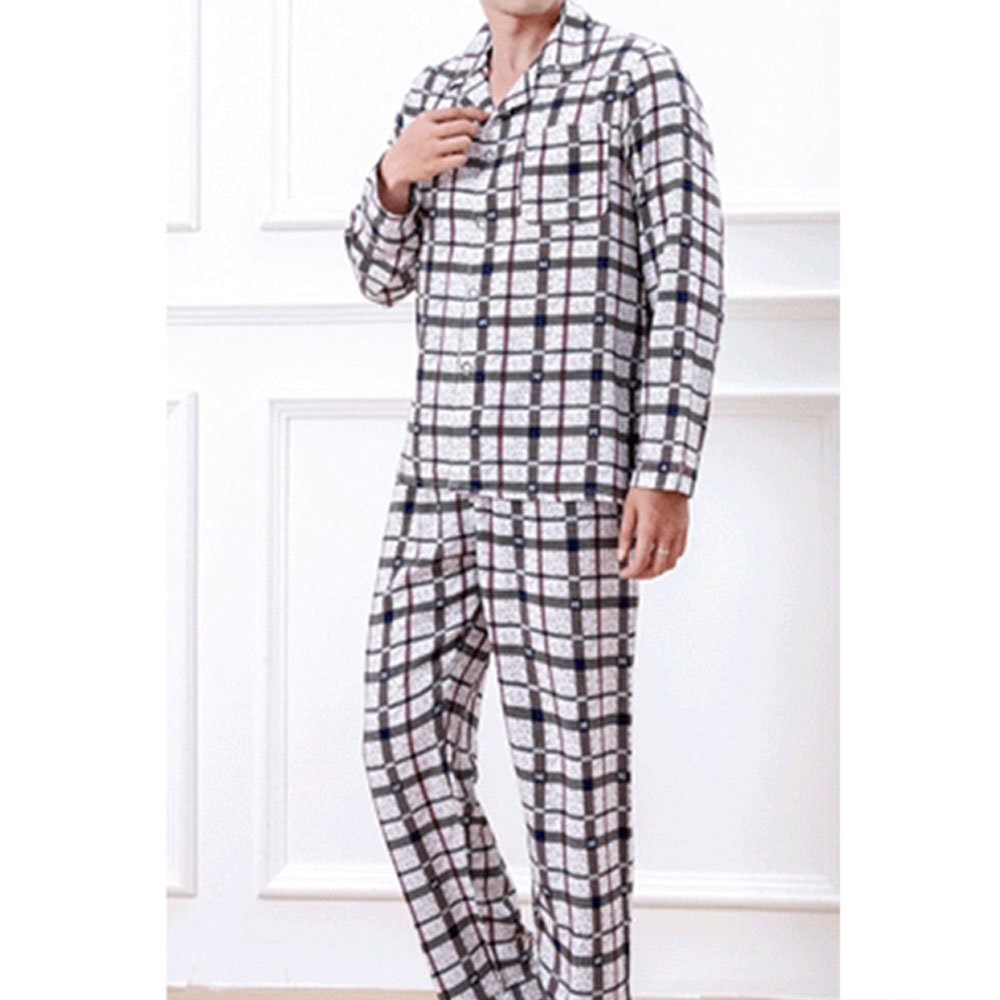 Mens Casual Button Cotton Pajamas Sets Long Sleeve Top Pants Plaid Sleep Wear