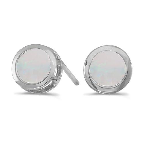 14k White Gold Round Opal Bezel Stud Earrings