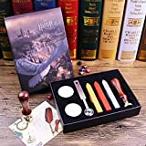 Unique Vintage Sealing Wax Stamp Kit with Spoon Harry Potter Wax Seal Wooden Stamp Initial Letters HP of Stamp Retro Stamps Maker Gift Box Set Halloween Christmas Birthday Gift for Kids or Friends