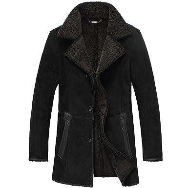 Mens Sheepskin Coat >> Cwmalls Men S Shearling Sheepskin Coat Black Cw807132 At Amazon
