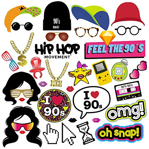 BizoeRade 90s Party Photo Booth Props, 37pcs 1990s Theme Party Props for Hip Hop Party, 90s Throwback Party Favors Decorations Supplies for Adults and Kids