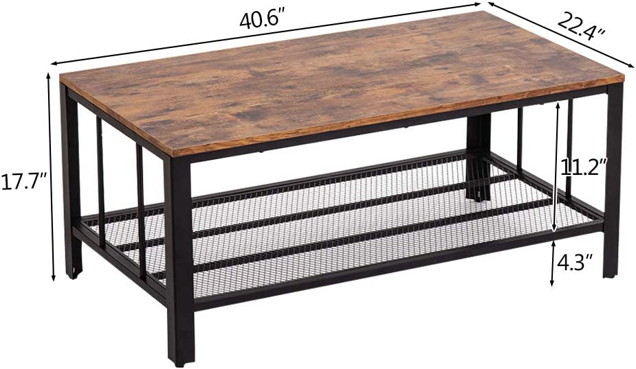 Bonnlo Vintage Coffee Table,Rustic Industrial Rectangular Coffee Table with Metal Storage Shelf for Living Room Accent Cocktail Table,40.6