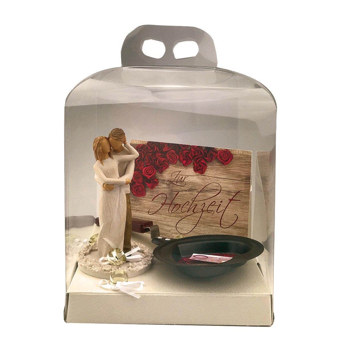 Geschenkset 3-teilig Hochzeit - 'ZWeißamkeit'   Willow Tree Figur Geldpfanne Karte dekoratives Geschenk Eheringe Geldgeschenk
