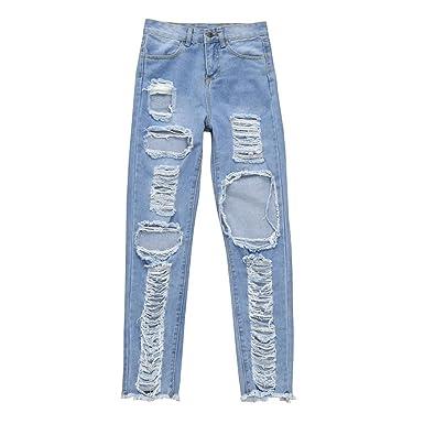 OHQ Pantalones Vaqueros Sra. Big Hole Jeans Pantalones De ...
