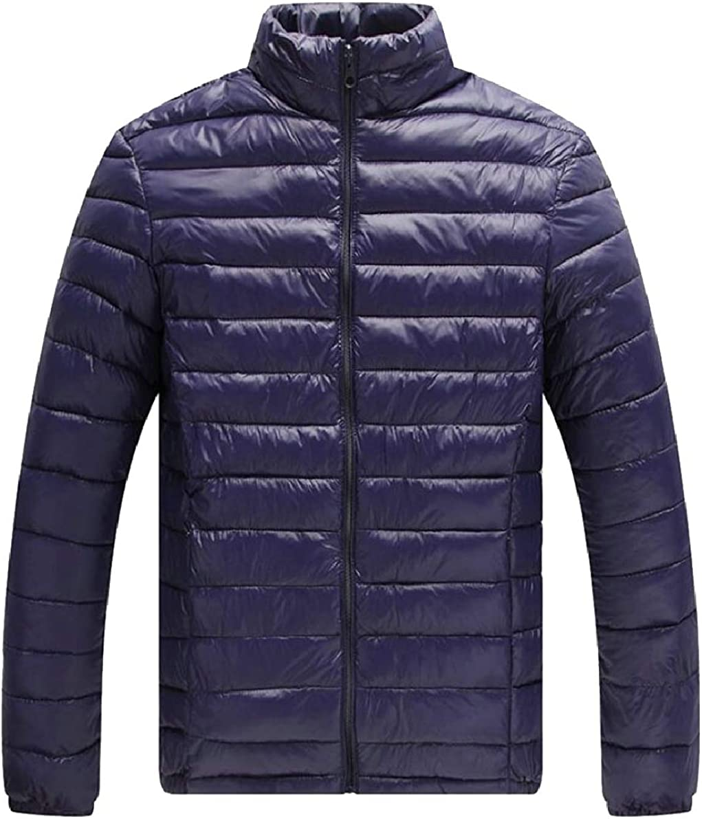 ONTBYB Mens Slim Quilted Winter Front-Zip Packable Solid Color Down Jacket Coat