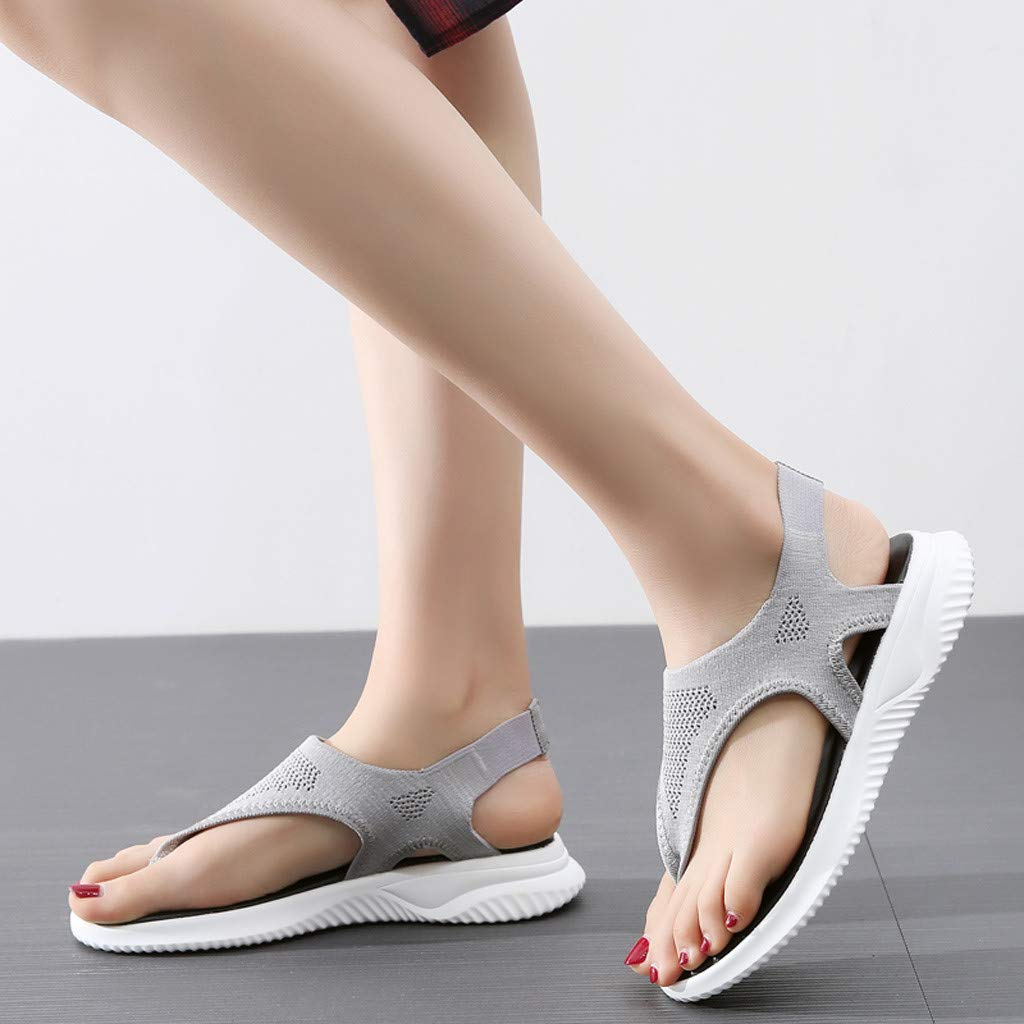 Women Thick Summer Flip Flop Shoes Clearance Sale, NDGDA Ladies Platform Roman Casual Flock Sandals by NDGDA Women Sandals (Image #5)