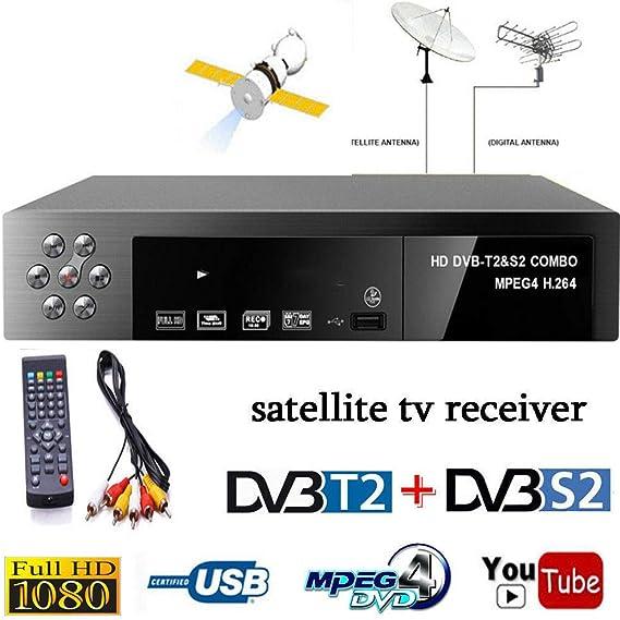 DishyKooker - Receptor de TV Digital por satélite (DVB-T2 + DVB-S2 FTA 1080P, decodificador MPEG4, Enchufe Europeo): Amazon.es: Electrónica