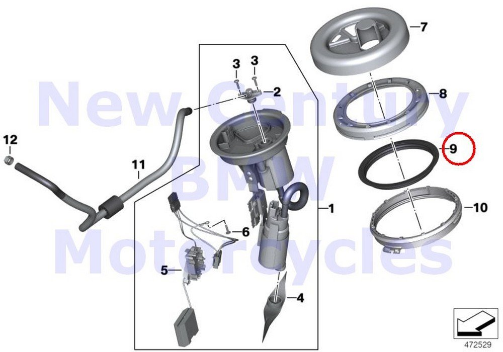 BMW Genuine Motorcycle Fuel Pump Gasket A15 A40 G650 Xchallenge G650 Xcountry G650 Xmoto R1200GS R1200GS Adventure HP2 Enduro HP2 Megamoto R1200RT R900RT R1200ST HP2 Sport R1200S K1200S K1300S K1200R