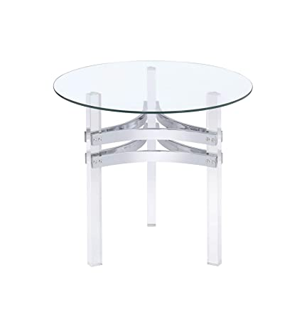 Coaster 720707 Co Round Glass Top End Table Chrome