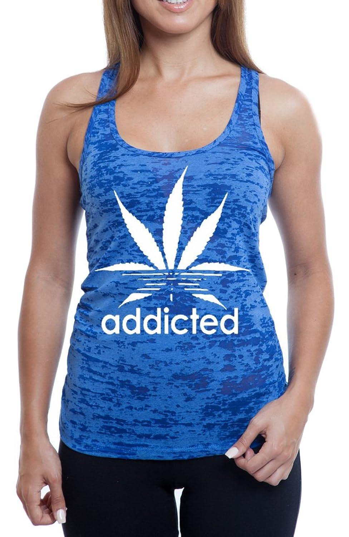 Women's Addicted Weed Leaf 420 Weed Burnout TankTop