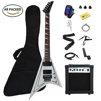 Guitarra eléctrica paquete Set Kit con 10 W amplificador (Kit completo) (azul)
