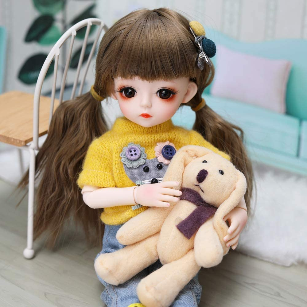 5pcs 12 Joints BJD Doll Long Hair Lovely Dress Up Toy with 5 Dress Suit DIY