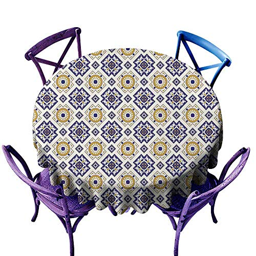 (ScottDecor Vintage Tassel Tablecloth Classical Victorian Pattern with Geometric Shapes and Floral Swirls Tulle Round Tablecloth Goldenrod Dark Blue Beige Diameter 60