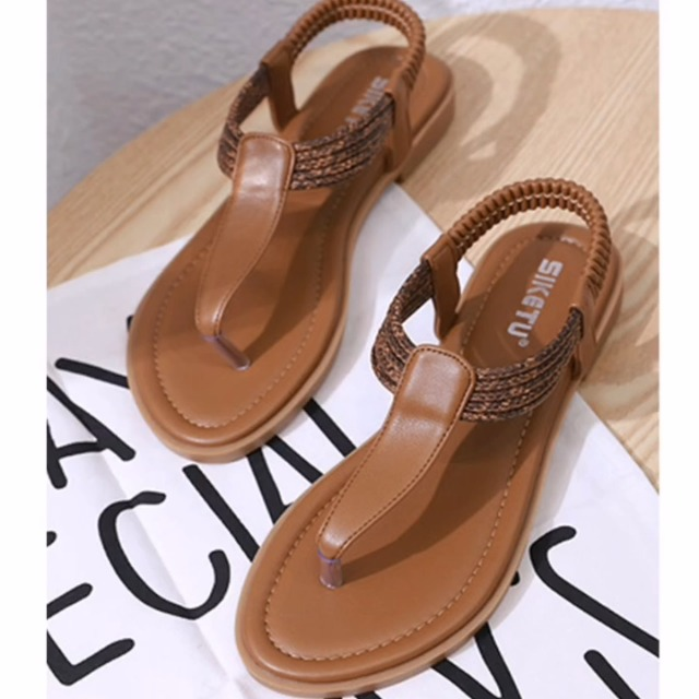SHIBEVER Women Flat Thong Sandals Summer Casual Ankle T-Strap Elastic Walking Beach Flat Shoes Sandals