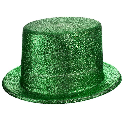 Windy City Novelties St. Patricks Green Glitter Top Hat for Kids and Adults -